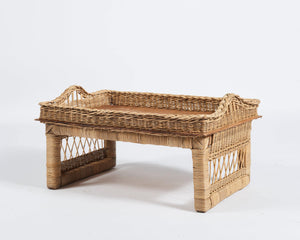 Woven tea tray in natural
