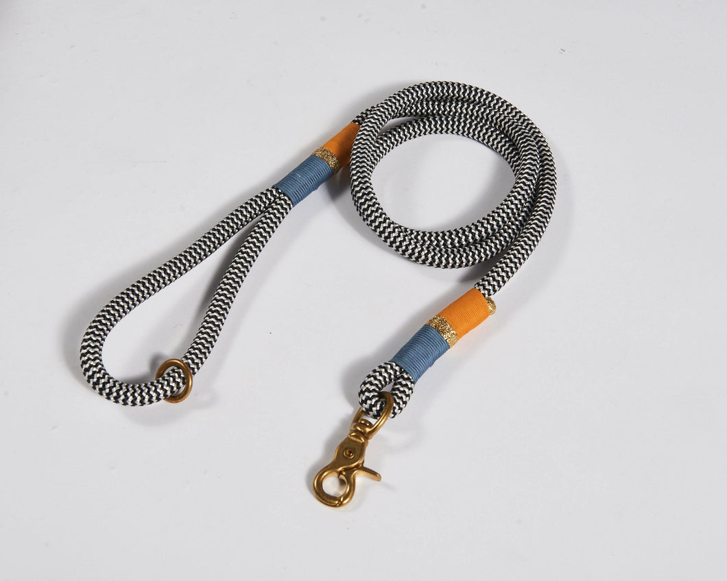 Chommies Cornflower and Orange Standard Dog Lead