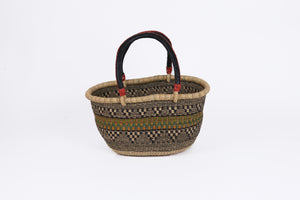 Medium Oval Bolga Basket in Black, Natural and Colour Stripe