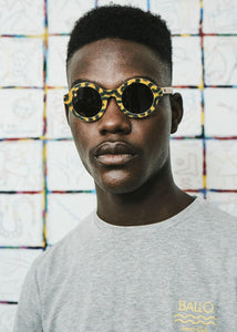BALLO OLIVE Sunglasses in Yellow African fabric - Hadeda Limited