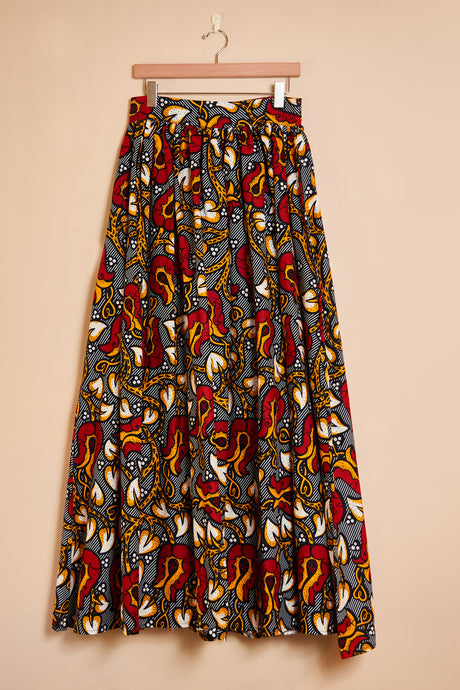 Maxi skirt - red floral print