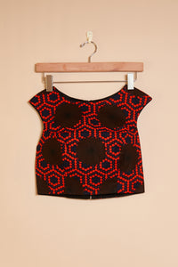 Fitted top - red print