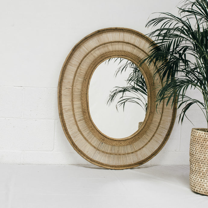Oval Cane Mirror in Natural