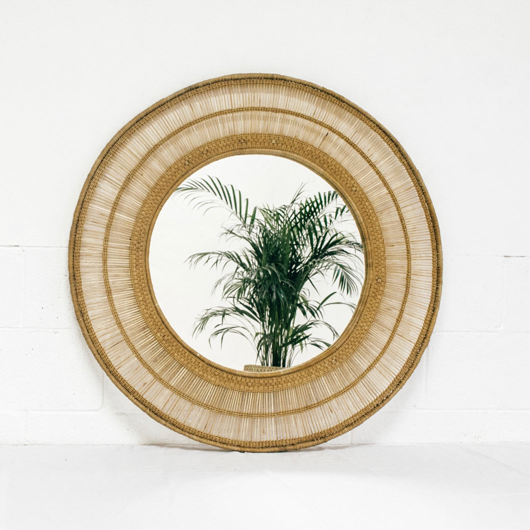 Round Cane Mirror in Natural