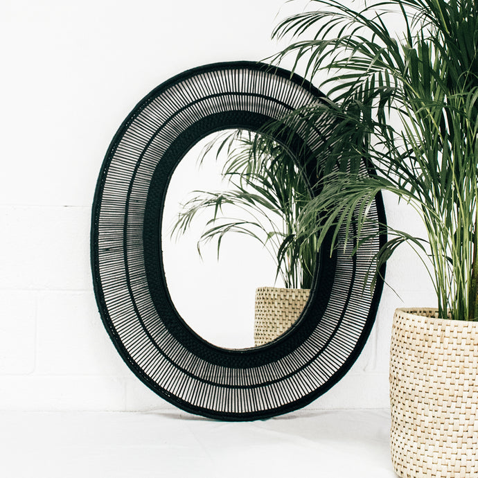 Oval Cane Mirror in Black