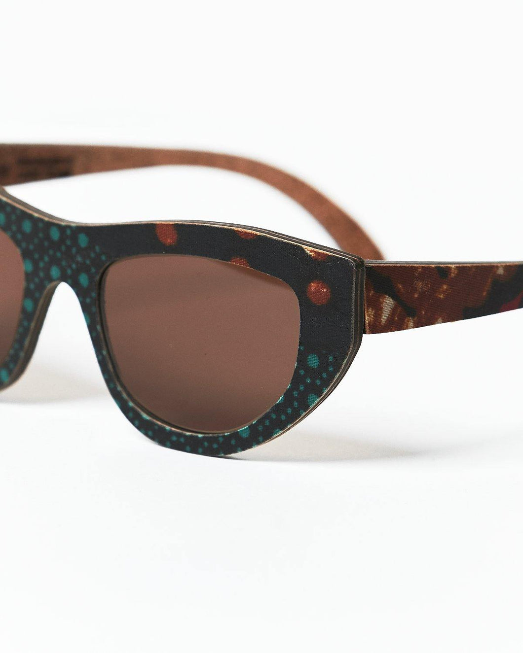 BALLO COSMO Sunglasses in Brown African Fabric - Hadeda Limited
