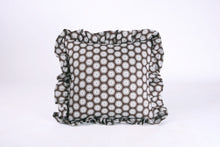 Load image into Gallery viewer, Shweshwe Ruffle cushion - Brown Circles