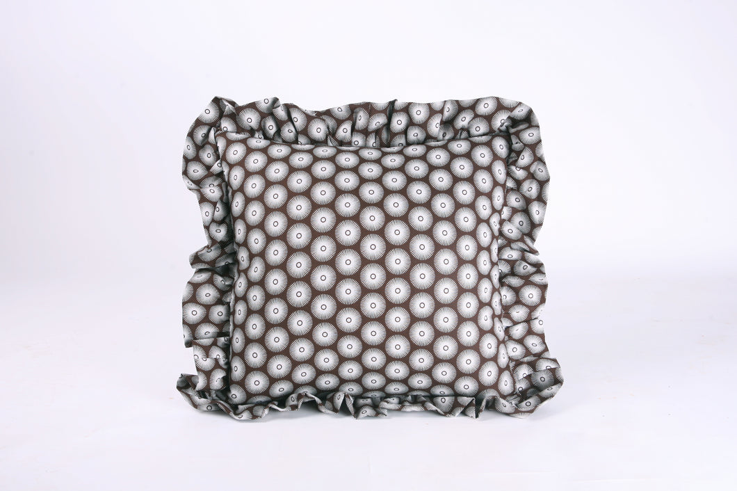 Shweshwe Ruffle cushion - Brown Circles