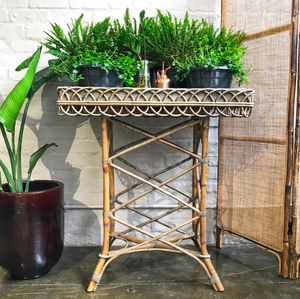 Rattan potting table in grey