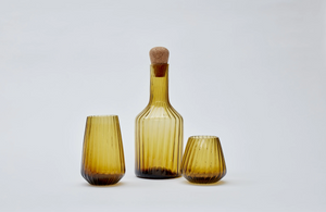 Hand-blown recycled glass tall tumbler in amber - Hadeda Limited