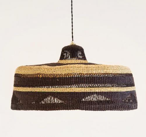 'Shadow' Hand Woven Pendant - Natural/Midnight