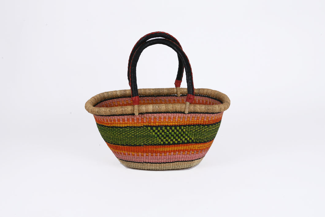 Small Oval Bolga Basket in Rainbow Stripe