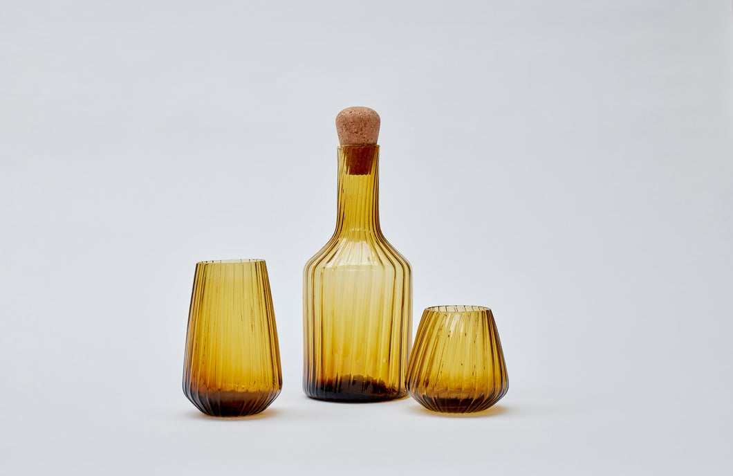 Hand-blown recycled glass carafe in amber