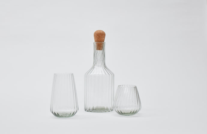 Hand-blown recycled glass short tumbler in clear