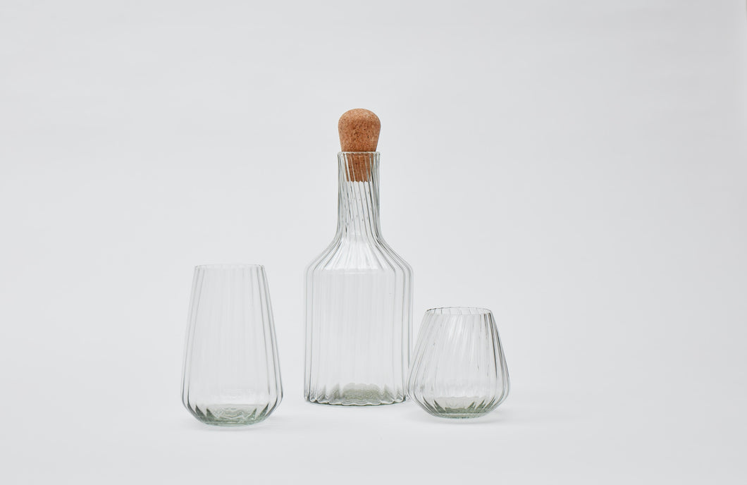 Hand-blown recycled glass carafe in clear