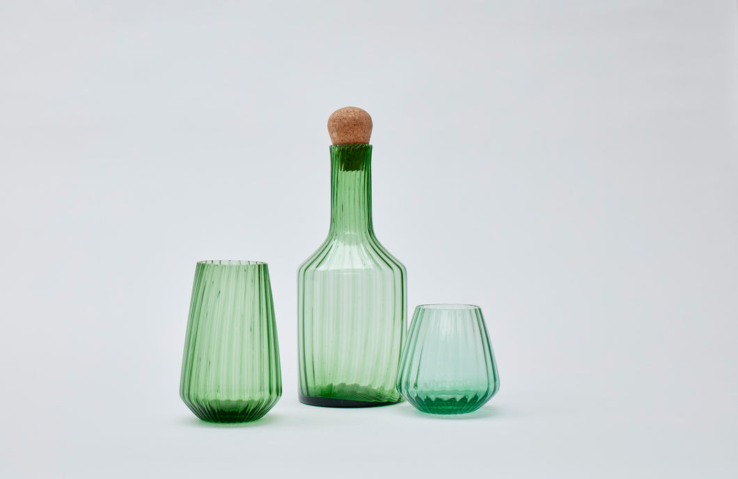 Hand-blown recycled glass short tumbler in green
