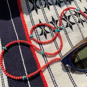Beaded sunglasses cord - 'Coral' Crystal with Turquoise Chips