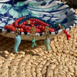 Coral Coloured Crystal Bracelet with Mint 'Coral' Charm