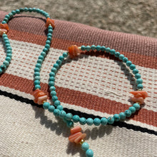 Load image into Gallery viewer, Beaded sunglasses cord - Turquoise Beads with Orange Stones