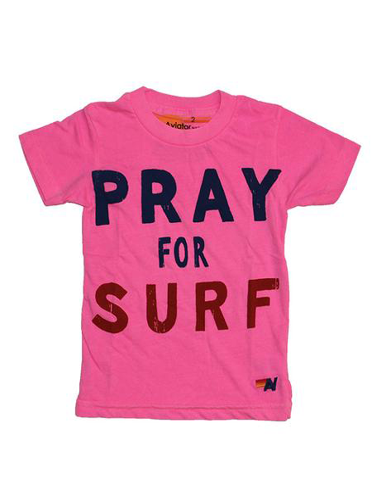 Pray For Surf Kids Tee Pink