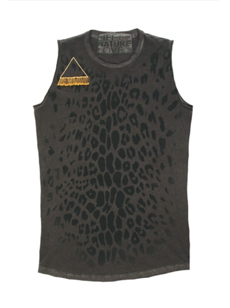 Leopard Gold Line Sleeveless T - Crater