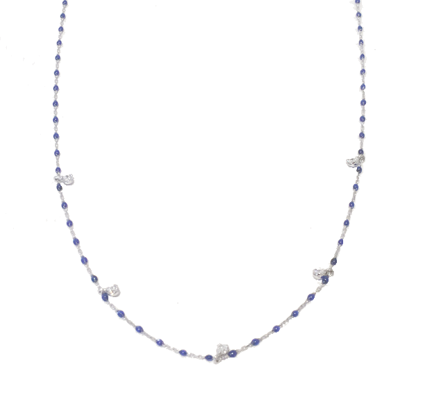White Gold and Resin Necklace with 5 Diamonds
