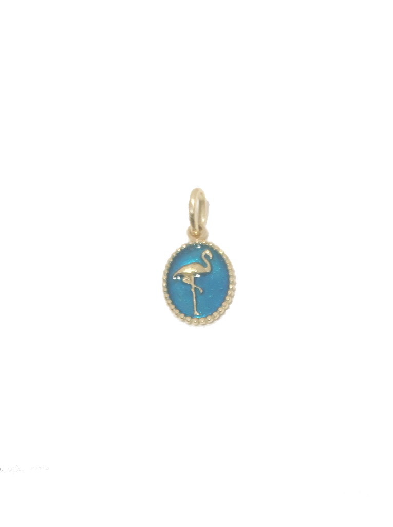 Flamingo Pendant 18K Gold and Resin