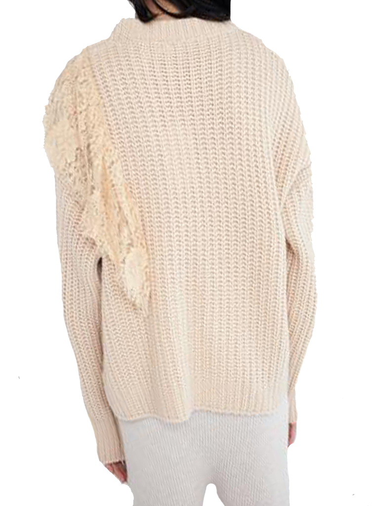 Oversized Sweater With Lace Insert