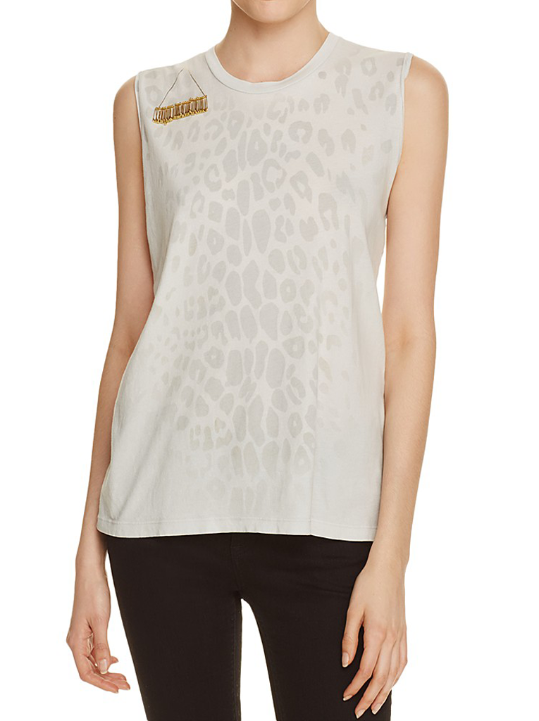 Leopard Gold Line Sleeveless T - Magical White Rabbit