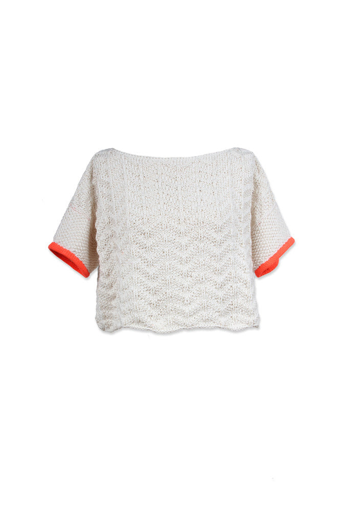 CROP SHORT SLEEVE SWEATER