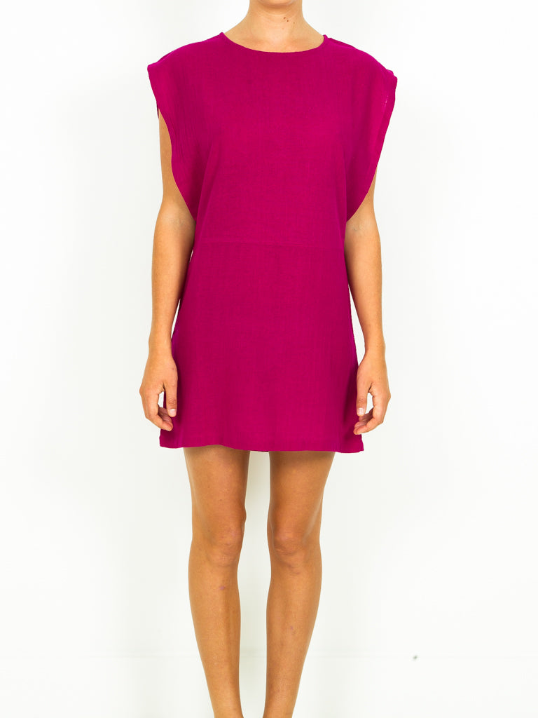 Silk Noile Open Sleeve Dress - 3 Colors