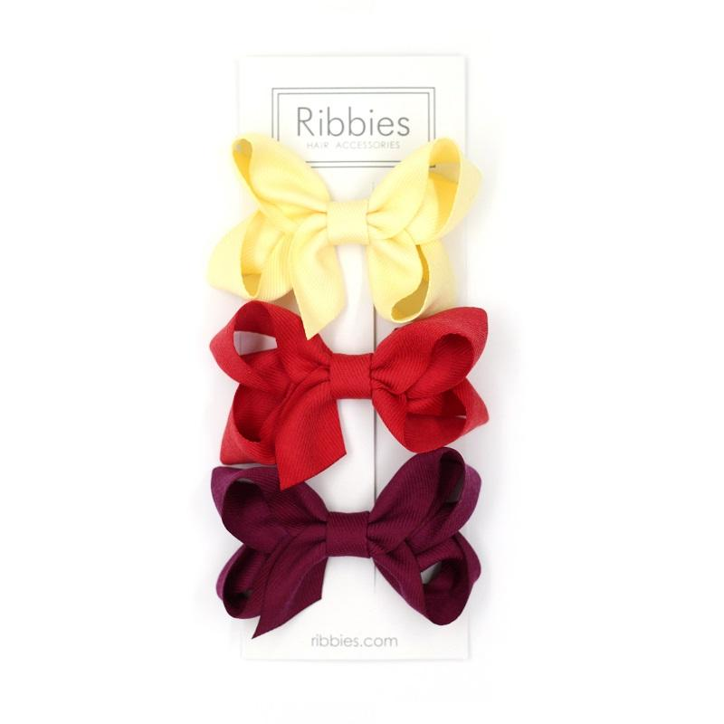 Set de 3 Barrettes Anti-Glisse à Grand Nœud - Jaune, Rouge & Bordeaux