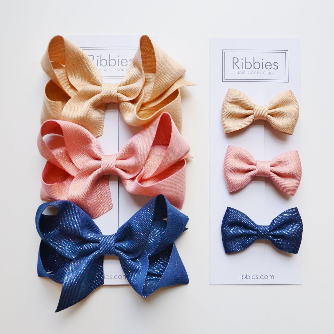 Set de 3 Barrettes Anti-Glisse à Très Grand Nœud Brillant - Doré, Rose Blush & Bleu Marine