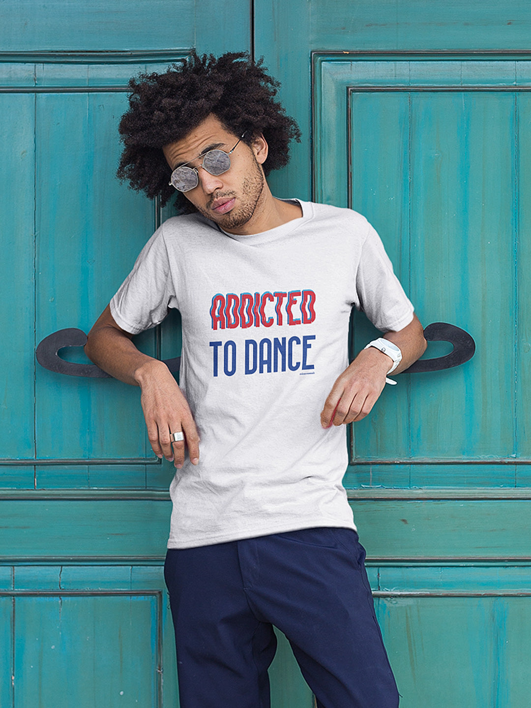 Dance Shirt Addicted to Dance for men white