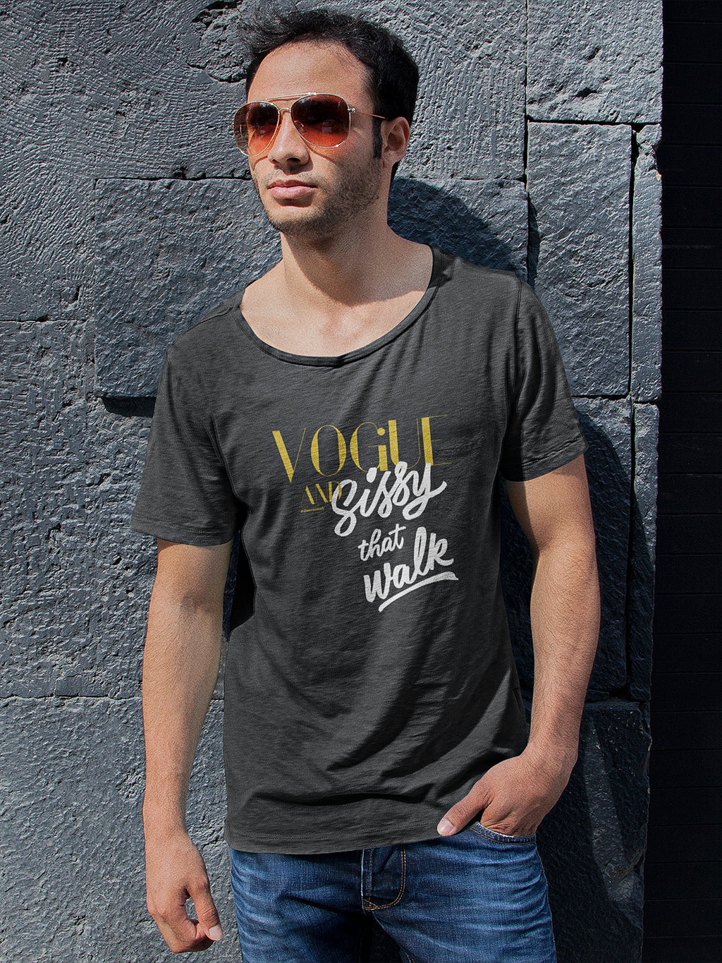 Vogue and sissy that walk scooped neck shirt for men dark heather grey