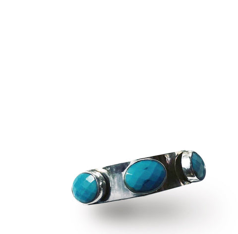 STERLING SILVER TURQUOISE FACETED BANGLE