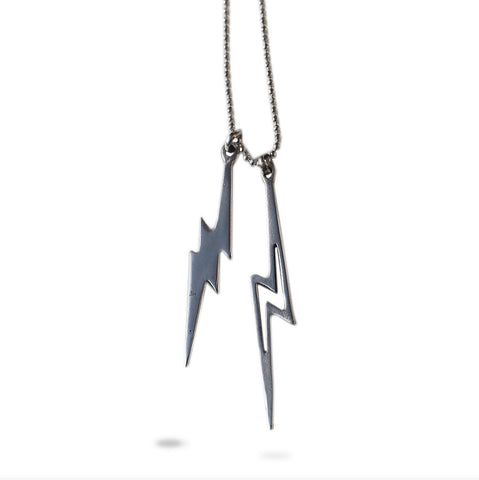 STERLING SILVER LIGHTING BOLTS NECKLACE