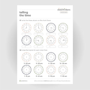 telling the time worksheet
