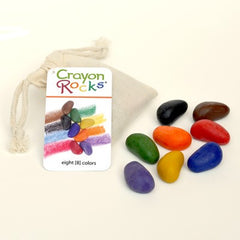 Crayon Rocks - 8 Primary Colours in Cotton Muslin Bag