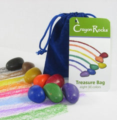 Crayon Rocks - 8 Primary Colours in Blue Velvet Bag