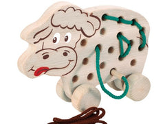 Wooden Sewing Cow on Wheels