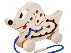 Wooden Sewing Dog on Wheels