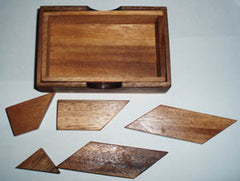 Letter K Puzzle in Wooden Box - Tangram Puzzle
