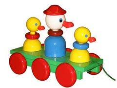 Wooden Duck w Chicks Pull Along Baby Toy