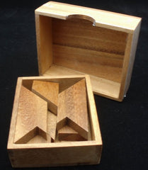Letter H Puzzle in Wooden Box - Tangram Puzzle
