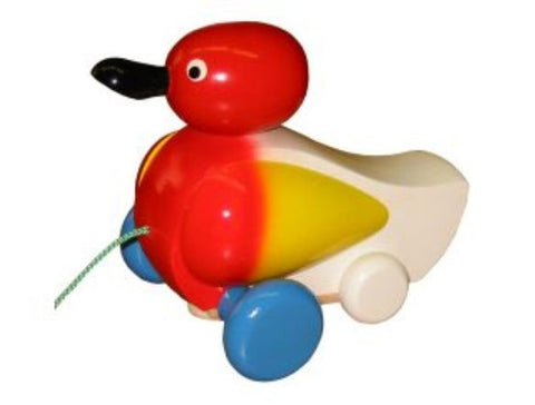 Picture of Quacking Wooden Duck Pull Toy - Red