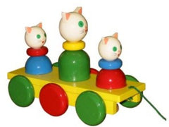 Wooden Cat and Kittens Pull Along Baby Toy