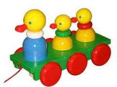 Wooden Duck and Duckling Pull Along Baby Toy