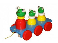 Wooden Frog and Babies Pull Along Baby Toy