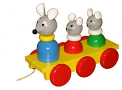Wooden Mouse and Mice Pull Along Baby Toy